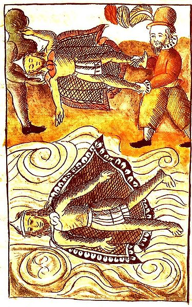 Españoles tirando cadaveres de Moctezuma e itzquauhtzin