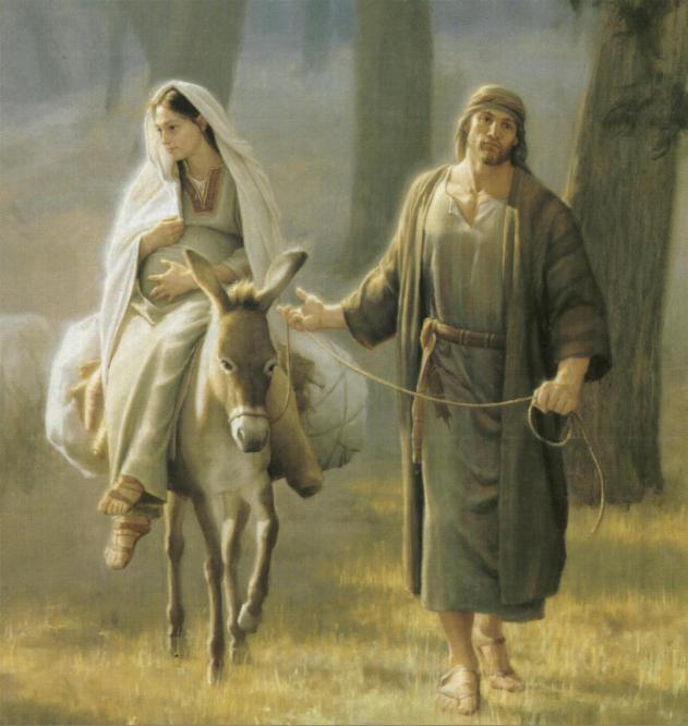 jose-y-maria-sobre-un-burro-hacia-belen